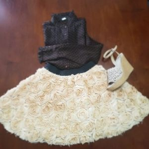 Free People rosette cream A line skirt Xs